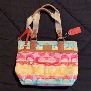 Coach Hampton 11756 Watercolor Scribble Handbag